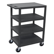 Offex 4 Flat Shelf Utility Cart; Black