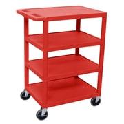 Offex 4 Flat Shelf Utility Cart; Red