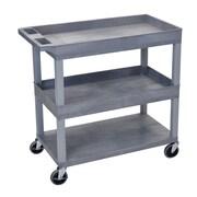 Offex High Capacity 2 Tub and 1 Flat Shelf Utitlity Cart; Gray