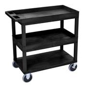 Offex HD High Capacity 2 Tub and 1 Flat Shelf Utility Cart; Black