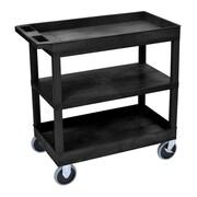 Offex 2 Tub and 1 Flat Shelf Utility Cart; Black