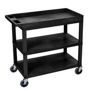 Offex High Capacity 2 Flat and 1 Tub Shelf Utility Cart; Black