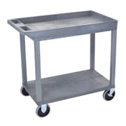 Offex 1 Tub and 1 Flat Shelf Utility Cart; Gray