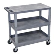 Offex 2 Tub and 1 Flat Shelf Utility Cart; Gray