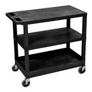 Offex 2 Flat and 1 Tub Shelf Utility Cart; Black