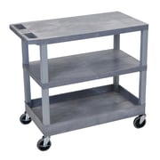 Offex 2 Flat and 1 Tub Shelf Utility Cart; Gray