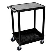Offex Flat Top and Tub Bottom Shelf Utility Cart; Black
