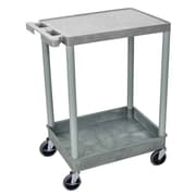 Offex Flat Top and Tub Bottom Shelf Utility Cart; Gray