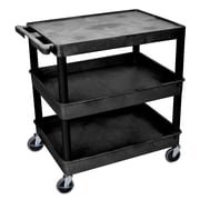 Offex Flat Top and Tub Middle/Bottom Shelf Utility Cart; Black
