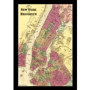 Frame USA 'Plan of New York and Brooklyn 1868' Poster Print Hardboard Framed Graphic Art