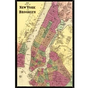 Frame USA 'Plan of New York and Brooklyn 1868' Poster Print Solid Wood Framed Graphic Art