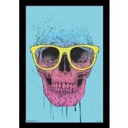 Frame USA 'Pop Art Skull w/ Glasses' Poster Print Hardboard Framed Graphic Art