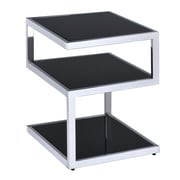 ACME Furniture Alyea End Table; Black Glass/Chrome
