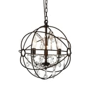 CrystalWorld Bird Cage 3-Light Globe Pendant