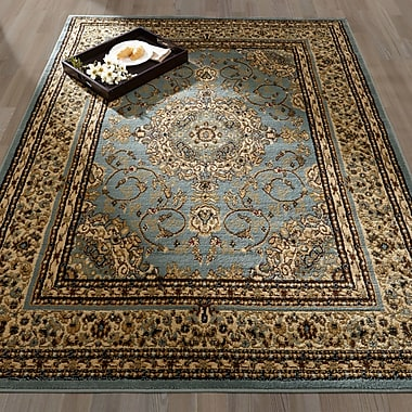 Ottomanson Royal Medallion Blue/Tan Area Rug; 5'3'' x 7'