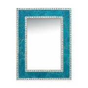 DecorShore Decorative Crackled Glass Mosaic Wall Mirror; Turquoise