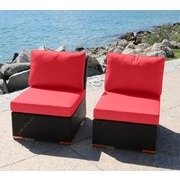 Bellini Marcelo Armless/Slipper Chair w/ Cushions (Set of 2); Dura-Fast Red
