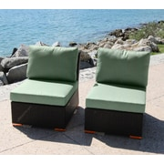 Bellini Marcelo Armless/Slipper Chair w/ Cushions (Set of 2); Dura-Fast Fragship Blue