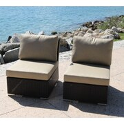 Bellini Marcelo Armless/Slipper Chair w/ Cushions (Set of 2); Dura-Fast Meridian Metals