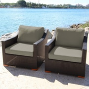 Bellini Marcelo Deep Seating Arrm Chairs w/ Cushions; Gray - Spectrum Dove