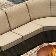 Forever Patio Barbados Deep Seating Chair w/ Cushions; Spectrum Mushroom / Spectrum Sand Welt