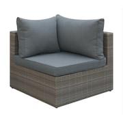 A&J Homes Studio Basswood Outdoor Corner Chair w/ Cushion; Brown
