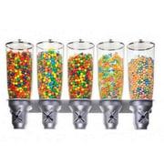 Cal-Mil 845.35 Oz. Pentadruple Canister Cylinder Cereal Wall Mounted Dispenser
