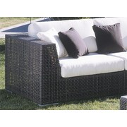 Hospitality Rattan Soho Patio Corner Lounge Chair w/ Cushion; Canvas Natural