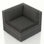 Harmonia Living District Corner Section Chair w/ Cushion; Canvas Charcoal