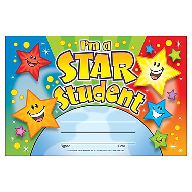 Trend Enterprises® Recognition Awards, I'm A Star Student