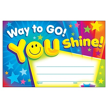 Trend Enterprises® Way to Go! You Shine! Recognition Award