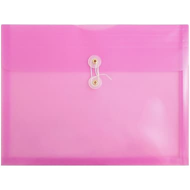JAM Paper® Plastic Envelopes, Button String Tie Closure, Letter Booklet, 9.75 x 13, Lavender Purple Poly, 108/bx (012413376B)