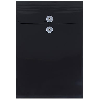 JAM Paper® Plastic Envelopes with Button and String Tie Closure, Legal Open End, 9.75 x 14.5, Black Poly, 108/pack (119B1BLB)