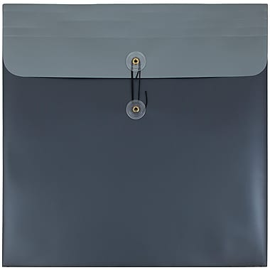 JAM Paper® Plastic Envelopes with Button and String Tie Closure, 13 x 13 square, Charcoal Blue Poly, Sold Individually (215887)