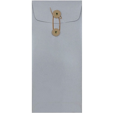 JAM Paper® #10 Policy Envelopes, Button and String Tie Closure, 4 1/8 x 9 1/2, Stardream Metallic Silver, 1000/carton (1261603B)