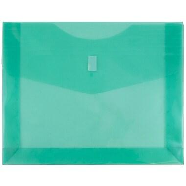 JAM Paper® Plastic Envelopes with VELCRO® Brand Closure, 2 Expansion, Letter Booklet, 9.75 x 13, Green Poly, 12/pack (218V2GR)