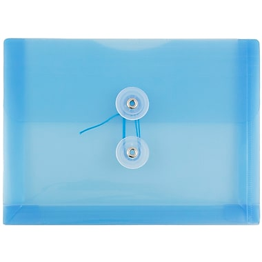JAM Paper® Plastic Envelopes with Button and String Tie Closure, Index Booklet, 5.25 x 7.5, Blue Poly, 12/pack (920B1BU)
