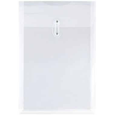 JAM Paper® Plastic Envelopes with Button and String Tie Closure, Legal Open End, 9.75 x 14.5, Clear Poly, 12/pack (119B1CL)