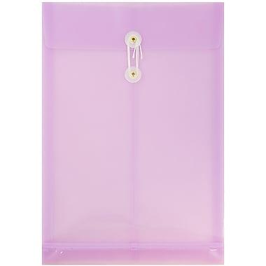 JAM Paper® Plastic Envelopes, Button and String Tie Closure, Legal Open End, 9.75 x 14.5, Lilac Purple Poly, 12/pack (119B1LI)