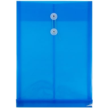 JAM Paper® Plastic Envelopes with Button and String Tie Closure, Legal Open End, 9.75 x 14.5, Blue Poly, 12/pack (119B1BU)