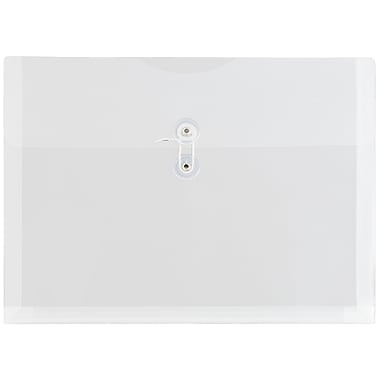 JAM Paper® Plastic Envelopes with Button and String Tie Closure, Letter Booklet, 9.75 x 13, Clear Poly, 12/pack (218B1CL)