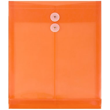 JAM Paper® Plastic Envelopes, Button and String Tie Closure, Letter Open End, 9.75 x 11.75, Orange Poly, 12/pack (1221560)