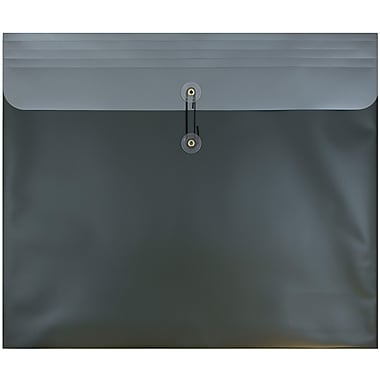 JAM Paper® Plastic Envelopes with Button and String Tie Closure, 15 x 18, Metallic Dark Green Poly, 12/pack (15584)