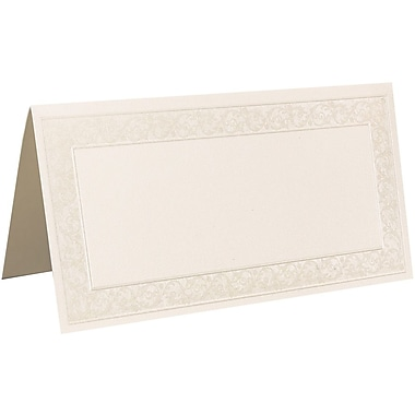 JAM Paper® Placecards, 2 x 4.5, 80lb Ivory Pearl Border Place Cards, 25/pack (218015296)
