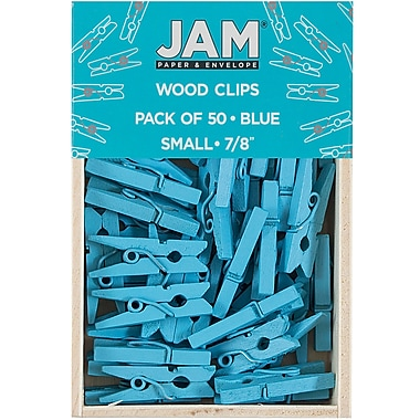JAM Paper® Wood Clothing Pin Clips, Small 7/8, Blue, 50/pack (2230717361)
