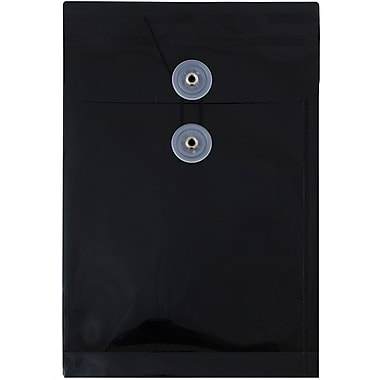 JAM Paper® Plastic Envelopes with Button and String Tie Closure, Open End, 6.25 x 9.25, Black Poly, 12/pack (472B1BL)
