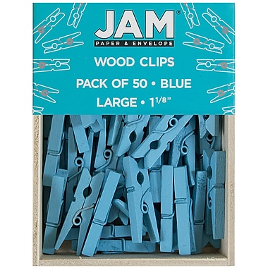 JAM Paper® Wood Clothing Pin Clips, Medium 1 1/8, Blue, 50/pack (230726776)