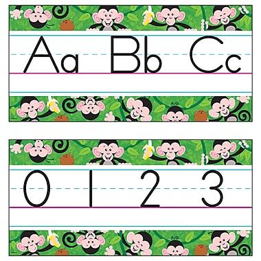 Trend Enterprises® Monkey Mischief Jumbo Alphabet Line Zaner-Bloser Bulletin Board Set