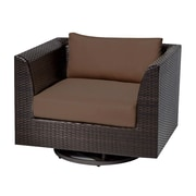 TK Classics Barbados Swivel Chair w/ Cushions; Cocoa