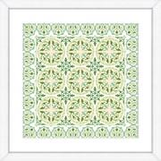 Hand Colored Art Geometric Green Pattern Framed Giclee Print; 24'' H x 24'' W